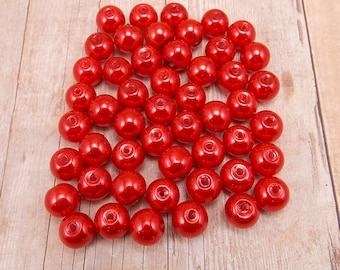 6mm Glass Pearls - Red - 75 pieces - Crimson - Siam - Cardinal
