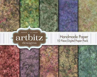 "Handmade Paper 10 Piece Marbled Texture Digital Scrapbooking Paper Pack, 12""x12"", 300 dpi .jpg, Instant Download"