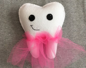 Tooth Fairy Pillow with a Tutu, Personalized Pocket