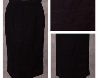 1950s Black Wool Pencil Skirt
