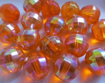 Vintage Glass Beads (10) Tangerine Luster Deco Faceted Beads