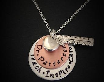 Personalized Teacher Necklace-Teacher's Jewelry, Teacher Appreciation Gift, End of Year Teacher Gift, Teacher Gift, teacher jewelry, teacher