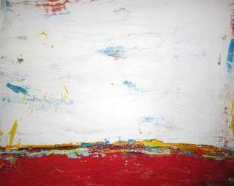 SALE, Minimalist Painting  Contemporary Abstract Red White Art, 24x24 inches. Ready to Hang