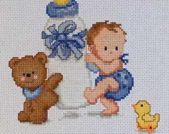 Baby's Bottle Birth Record - FINISHED Counted Cross Stitch - Personalized