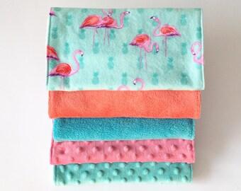 Baby Burp Cloths // Pink Flamingo // Pineapple // Pink Minky // Teal Minky // Salmon // Baby Shower gift // Nursing// Newborn