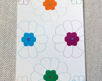 "Multicolored postcard card ""Flowers"""