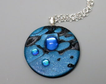 Twilight Sky Pendant Necklace, Polymer Clay with Vintage Blue Mirrored Cabochon, Mokume Gane