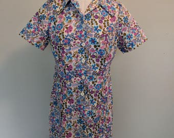 1960s Sears Cheerful Botanical Floral Print Day Dress