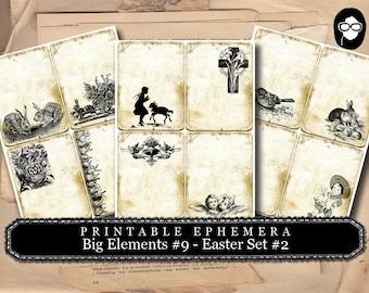 Altered Art Kit - Big Elements #9 Easter #2- 3 Page Instant Download - digital smashbook, smashbook supplies, blank journal cards