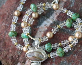 CRYSTAL PALACE Necklace (Golden Rutilated Quartz, Swarovski Crystal Pearls, Celestial Crystal, Glass)