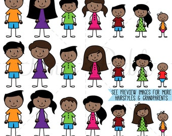 African American Stick Figure Clipart Clip Art Vectors, Stick People Family Clip Art Clipart Vectors - Commercial and Personal Use