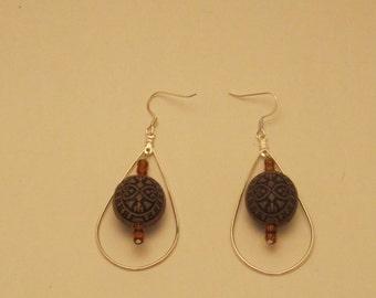 Silver & Wood  Earrings