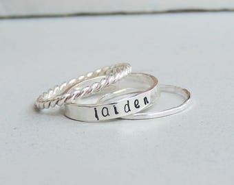 Name Ring Personalized Ring Dainty Rings Stacking Ring Set Custom Name Ring Simple Rings Sterling Silver Minimalist Ring Mothers Day Gift