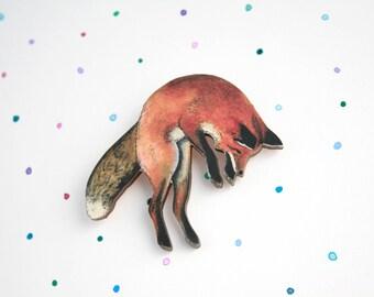 Fox Brooch (large) - laser cut wooden fox badge / pin from original illustration. Great animal gift, wildlife, kitsune, animal brooch, fox