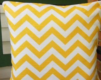 Yellow Chevron Pillow, Cushion COVER, Throw Pillow,  ONE or More ALL Sizes Couch Pillow,Bed Pillow Sham, Nursery Pillow Cushion Yellow White