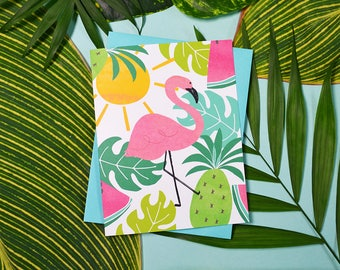 Set of four Summer Notecards, Hello Sunshine, Flamingo, Tropical Note Cards, Watercolor, Beach, Pineapple, Sunny, Monstera, Fun Stationery