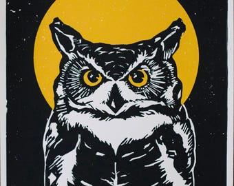 16x20 Great Horned Owl Silk Screened Art Print