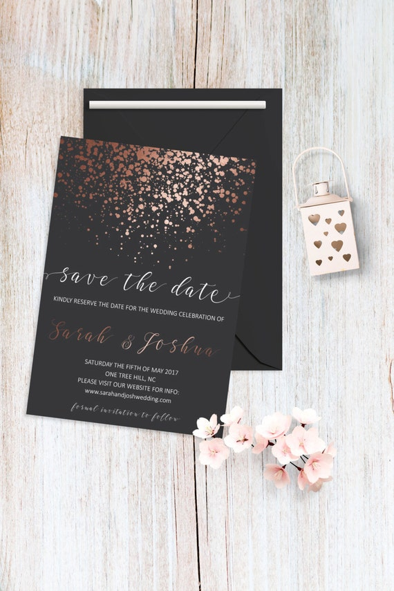 Save the Date Card Printable Rose Gold Save the Date Cards