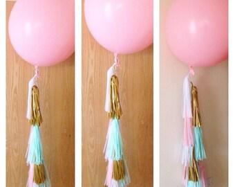 Giant 36 inch balloon with tassel tails for  valentine weddings babyshower birthdays parties