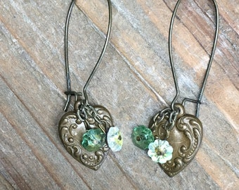 Antiqued Brass Embossed Heart with Green and Yellow Swarovski Crystal Flowers Earrings