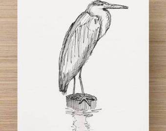 Ink sketch of Blue Heron in Canton, Baltimore, Maryland - Drawing, Art, Bird, Nature, Water, Pen and Ink, 5x7, 8x10, Print