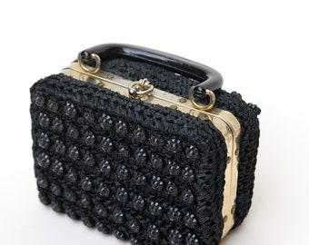 Vintage 60s Purse / Vintage 60s Black Pill Box Purse / Black Woven Straw Beaded Purse