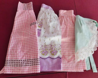 4 vintage APRONS Apron handmade embroidered 1 child's lace