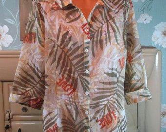 Vintage Leara multi semi sheer retro print love blouse tunic top XL R12398.