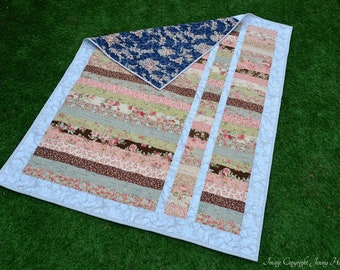 Modern country countage quilt, vintage look floral quilted patchwork throw. Floral shabby chic style. Large floral blanket UK