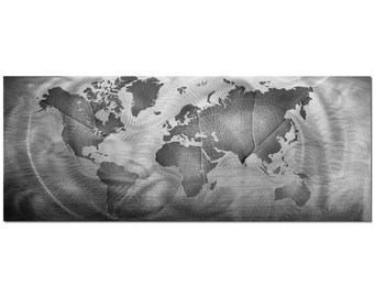 World map wall art metal etsy world map art modern silver wall painting monochrome land sea 48x19in gumiabroncs Images