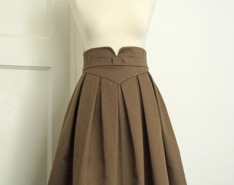 Box pleat skirt, tea length skirt, retro chic, pleated skirt, full skirt, taupe skirt, V shaped waistband made to measure//sizes XS-XL