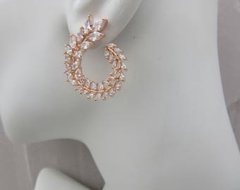 Stunning leaf Circle Wrap Earrings Gold , Rose Gold, Platinum Silver