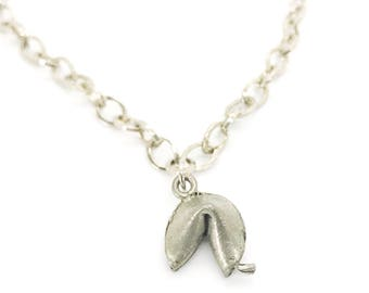 Adjustable Choker Necklace - Antiqued silver fortune cookie charm necklace - simple silver choker - lucky charm necklace