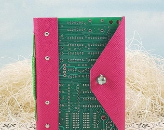 On Sale Computer Lover Circuit Board Journal Notebook with Hot Pink Leather Wraparound Cover