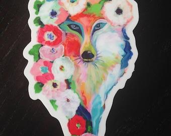 Fox and Flowers Vinyl Sticker, 3x5, by Jenlo