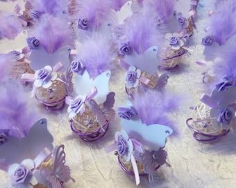Place card violet color rattan ball