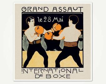 Grand Assaut International de Boxe - Vintage Boxing Poster - Boxing Print from Switzerland
