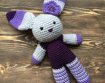 Crochet bunny plush, Easter bunny softie, amigurumi bunny, shower gift, kid baby toy, purple bunny