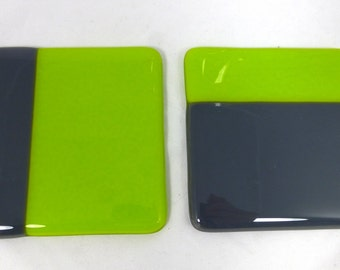 Fused Glass Neon Lime Green and Elephant Grey  Coasters - set of 2 MTO