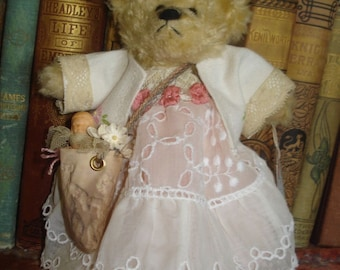 OOAK Altered Teddy-Bear-Doll-MISS-MUSSIE-in-Old-Lace-Vtg-Linen-Clothes-w-Dolly
