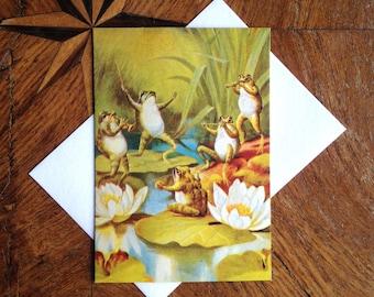 The Quartet.  Vintage Frog Greeting Card Repro.