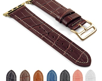 DASSARI Croc Embossed Leather iWatch Band Strap for Apple Watch w/ Hermès Yellow Gold Buckle 38mm 42mm