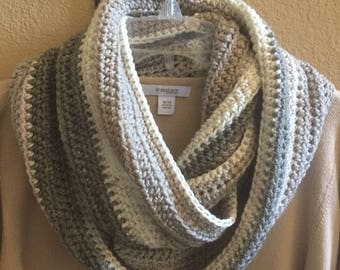 "INVENTORY SALE! ""Winter Is Coming"" Crochet Infinity Scarf; Acrylic/Wool Self-Striping Yarn; Winter-White/Soft-Gray/Gray-Green; BEAUTIFUL!"