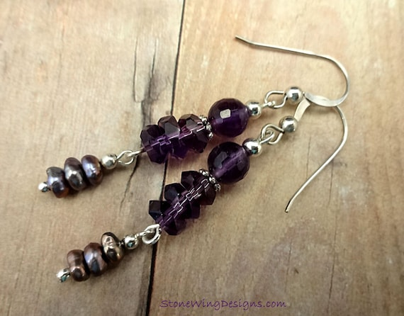Amethyst and Pearl Earrings - February Birthstone Earrings