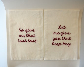R Kelly Flour Sack Towel Set - Remix to Ignition- Embroidered towel - So Gimme that Toot Toot - Hot and fresh