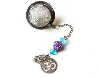 Yoga Charm Tea Infuser Ball with Hamsa Hand and Om Charms, Tea Strainer, Blue & Purple Beaded Mesh Tea Ball, Loose Leaf Tea, Tea Lover Gift