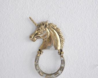 mid century solid brass unicorn door knocker / horse figurine