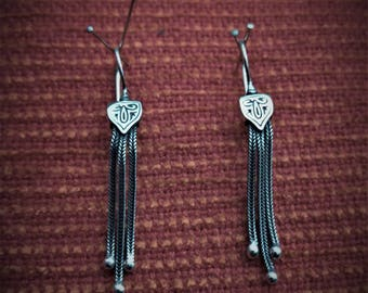 Drop Earrings Sterling Silver 925 With Byzantine Chains Handmade