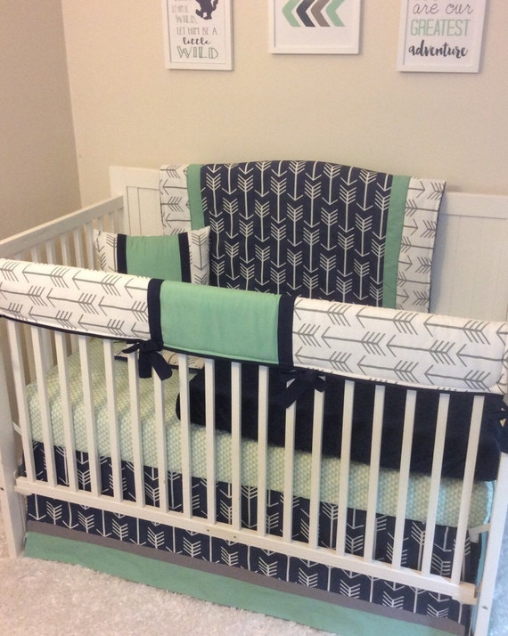 Baby Boy Cribs: Baby Boy Crib Bedding Navy Mint Gray Arrows