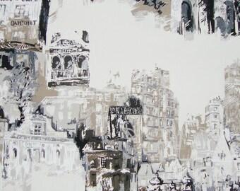 Montmartre, coupon, fabric, houses, buildings, Paris, cotton canvas